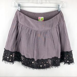 Free People Muted Purple Beaded Mini Skirt